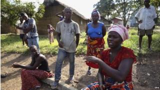 Villagers in Liberia, 30 October 2014
