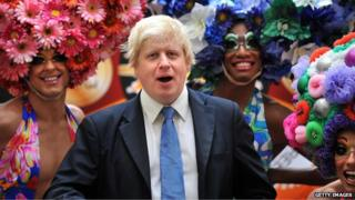 Boris Johnson with cast members of Priscilla Queen of the Desert in the West End
