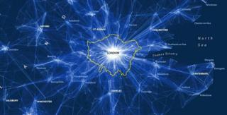 Depiction of daily commutes into London (source: 2011 Census, ONS)