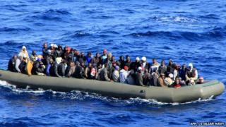 Migrants in a boat in Italian waters
