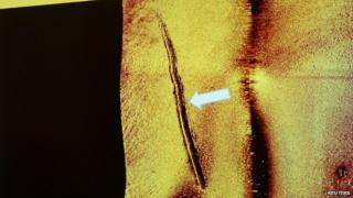 Sub-sea tracks left behind by a mini-submarine is seen in this undated sonar image
