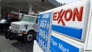 Exxon logo on oil price sign