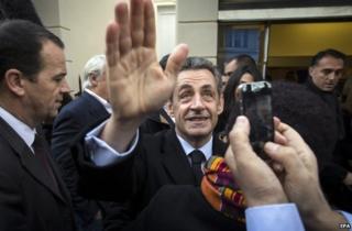 Nicolas Sarkozy voting in the UMP leadership ballot in Paris, 29 November
