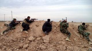 Iraqi troops and Shia volunteers near Amerli, northern Iraq - 26 November