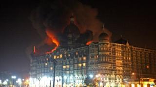 The Taj Mahal Palace Hotel during attacks on Mumbai in 2008