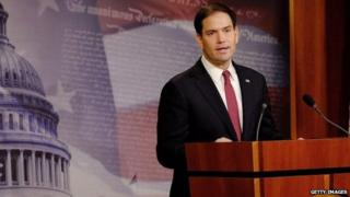 """Sen. Marco Rubio (R-FL) reacts to U.S. President Barack Obama""""s announcement about revising policies on US- Cuba relations in Washington, DC 17 December 2014"""