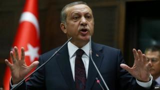 Recep Tayyip Erdogan at the Turkish parliament in Ankara - 8 April 2014
