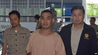 Patiwat Saraiyaem (centre) is escorted by prison officials as he arrives at the criminal court in Bangkok on October 27, 2014