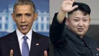 Photo composite of President Barack Obama, left, and North Korean leader Kim Jong-un