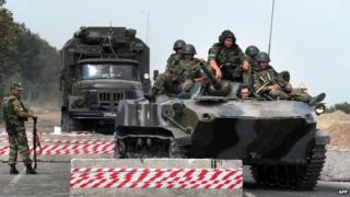 Russian troops in Georgia - file pic