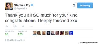 "Tweet from @stephenfry reading: ""Thank you all SO much for your kind congratulations. Deeply touched xxx"""
