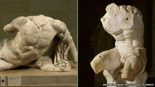 Ilissos. Marble statue from the West pediment of the Parthenon/Belvedere Torso, 1st century BC.