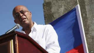 Haitian President Michel Martelly at a ceremony to mark 5 years since earthquake 5 Jan 2015