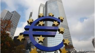 Euro logo in front of ECB