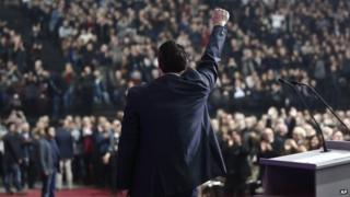 Greece's main opposition Syriza party leader Alexis Tsipras addresses his party's Congress in Athens on Saturday, Jan. 3, 2015