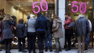Shoppers in the winter sales in Athens, Greece
