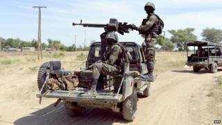 Cameroonian soldiers on patrol near the Nigerian border