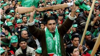 Palestinians celebrate Hamas electoral victory (Jan, 2006)