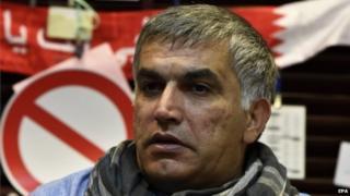 Rights activist Nabeel Rajab at his home in Bani Jamrah village, north-west of Manama, Bahrain, 19 January 2015