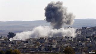 Air strike on Kobane in northern Syria. 23 Nov 2014