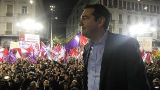 Alexis Tsipras addresses rally in Athens. 22 Jan 2015