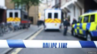 A police line at a crime scene