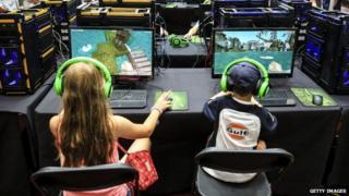 Children playing Minecraft