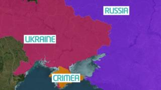 Map showing Ukraine, Russia and Crimea