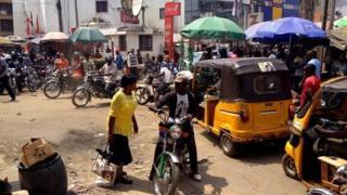 street scene with motorbikes