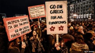 ATHENS, GREECE - FEBRUARY 11: Members of the public take part in an anti-austerity demonstration in front of the parliament on February 11, 2015 in Athens, Greece.