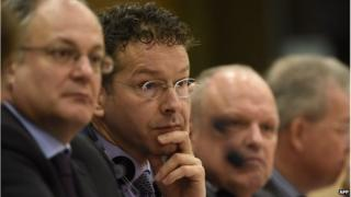 Eurogroup President and Dutch Finance Minister Jeroen Dijsselbloem (centre), 24 February 2015