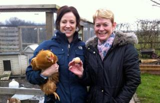 Kim Broughton (left) with Ping Pong and friend Jill Long