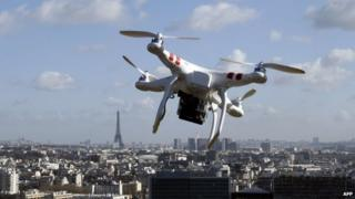 Drone flying over Paris