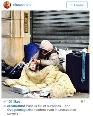 Instagram photo of homeless person