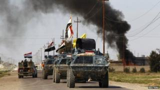Armoured column of Iraqi forces near Tikrit. 13 March 2015