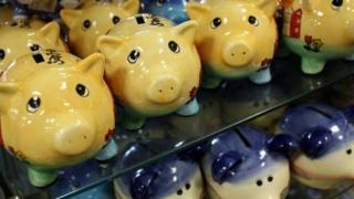 Piggy banks in a rwo