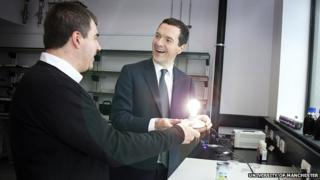 George Osborne with graphene co-inventor Konstantin Novoselov and the graphene light bulb