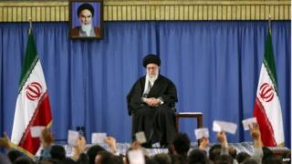 Ayatollah Ali Khamenei at a meeting of religious poets