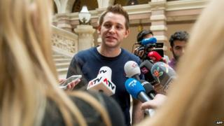 Max Schrems at court in Vienna on 9 April 2015