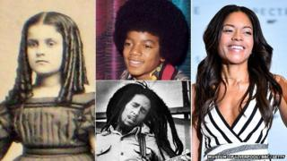 black or mixed race 19th century girl in ringlets, young Michael Jackson in afro, Bob Marley in dreadlocks and Naomie Harris