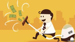 A cartoon man holds a vacuum cleaner in the air and happily sucks in dollar bills