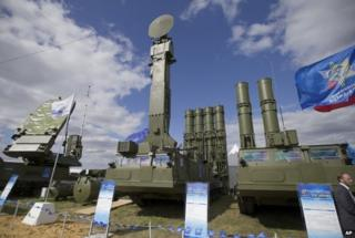 In this file photo taken on Tuesday, Aug. 27, 2013 a Russian air defense missile system Antey 2500, or S-300 VM, is on display at the opening of the MAKS Air Show in Zhukovsky outside Moscow