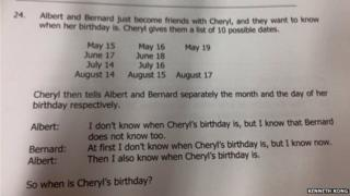 "Photo of the ""Cheryl's Birthday"" logic question"