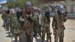 al-Shabab militants in Mogadishu 5 March 2012