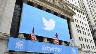 Banner of twitter draped over the front of the New York Stock exchange