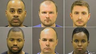 The six police officers facing the charges (top row from left): Caesar Goodson Jr., Garrett Miller and Edward Nero; bottom row from left: William Porter, Brian Rice and Alicia White
