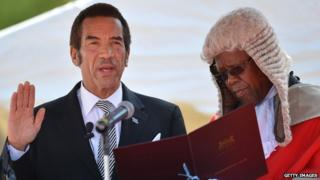 President Ian Khama is sworn in for a second term in 2014