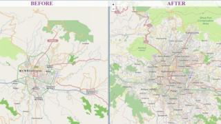 Before and after of Kathmandu area on OpenStreetMap from April 28 to 5 May