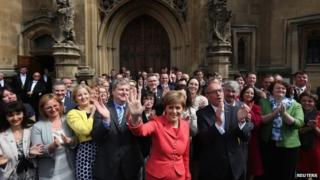 SNP MPs and Nicola Sturgeon outside Westminster