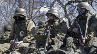 Pro-Russian rebels near Donetsk, eastern Ukraine. Photo: April 2015
